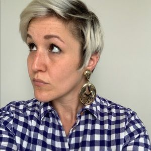 VTG Gold Clip-On Statement Earrings